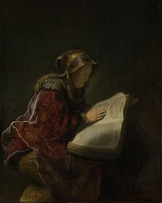 An Old Woman Reading, Probably The Prophetess Hannah, 1631 Oil On Panel Poster by Rembrandt Harmensz. van Rijn