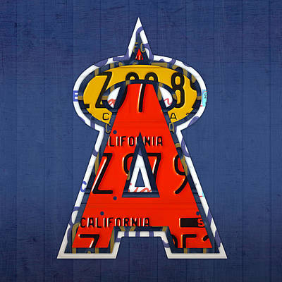 Anaheim California Angels Vintage Baseball Logo License Plate Art Poster by Design Turnpike