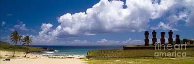 Anakena Beach With Ahu Nau Nau Moai Statues On Easter Island Poster by David Smith