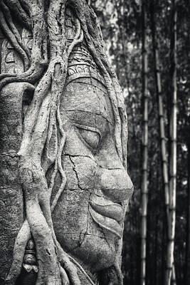 Ancient Buddha Stone Head Poster by Adam Romanowicz