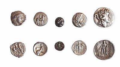 Ancient Greek Coins 1st - 3rd Century Poster by Science Photo Library