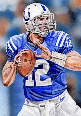 Andrew Luck Sketch Card Poster by Joshua Jacobs