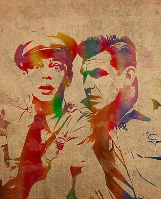 Andy Griffith Don Knotts Barney Fife Of Mayberry Watercolor Portrait On Worn Distressed Canvas Poster by Design Turnpike