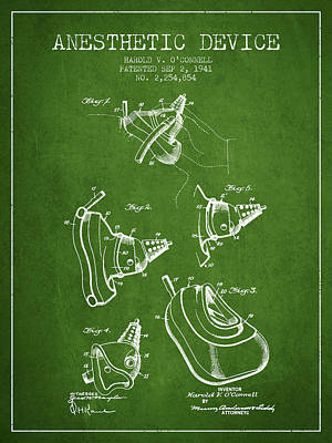 Anesthetic Device Patent From 1941 - Green Poster by Aged Pixel