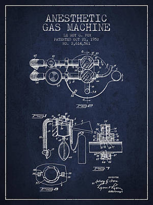 Anesthetic Gas Machine Patent From 1952 - Navy Blue Poster by Aged Pixel