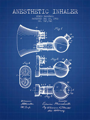 Anesthetic Inhaler Patent From 1903 - Blueprint Poster by Aged Pixel