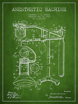 Anesthetic Machine Patent From 1919 - Green Poster by Aged Pixel