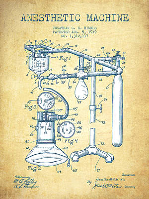 Anesthetic Machine Patent From 1919 -vintage Paper Poster by Aged Pixel