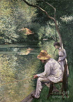 Angling Poster by Gustave Caillebotte