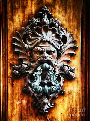 Angry Man Face Door Knocker Poster by George Oze