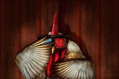 Animal - Chicken - Movie Night  Poster by Mike Savad