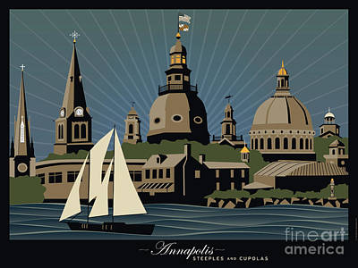 Annapolis Steeples And Cupolas Serenity With Border Poster by Joe Barsin