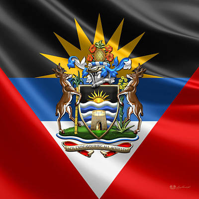 Antigua And Barbuda - Coat Of Arms Over Flag  Poster by Serge Averbukh