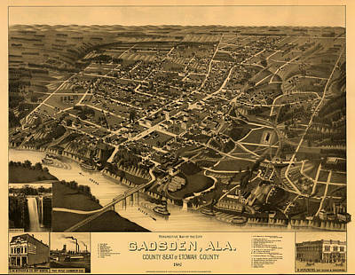 Antique Bird's-eye View Map Of Gadsden Alabama 1887 Poster by Mountain Dreams