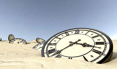 Antique Clocks In Desert Sand Poster by Allan Swart