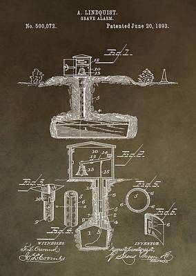 Antique Grave Alarm Patent Poster by Dan Sproul