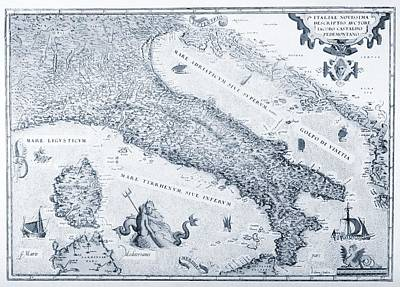 Antique Italy Map 1573 Poster by Dan Sproul