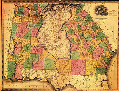 Antique Map Of Alabama And Georgia 1823 Poster by Mountain Dreams