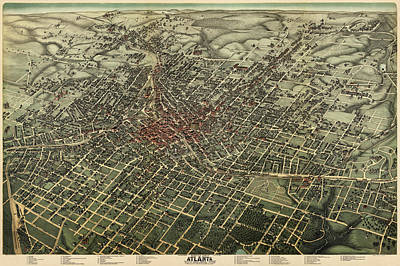 Antique Map Of Atlanta Georgia By Augustus Koch - 1892 Poster by Blue Monocle