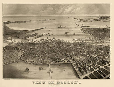 Antique Map Of Boston Massachusetts By F. Fuchs - 1870 Poster by Blue Monocle
