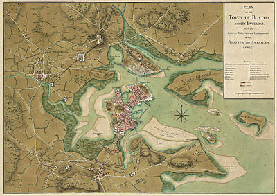 Antique Map Of Boston Massachusetts By Thomas Hyde Page - 1776 Poster by Blue Monocle