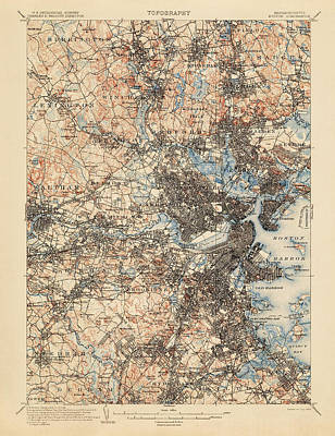 Antique Map Of Boston - Usgs Topographic Map - 1903 Poster by Blue Monocle