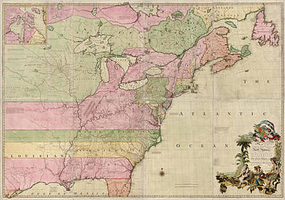 Antique Map Of Colonial America By John Mitchell - 1755 Poster by Blue Monocle