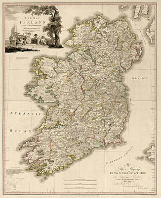Antique Map Of Ireland By Daniel Augustus Beaufort - 1797 Poster by Blue Monocle