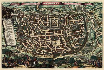 Antique Map Of Jerusalem By Nicolaes Visscher - Circa 1660 Poster by Blue Monocle