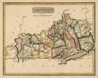 Antique Map Of Kentucky By Fielding Lucas - Circa 1817 Poster by Blue Monocle