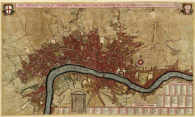 Antique Map Of London England By Robert Morden - 1700 Poster by Blue Monocle