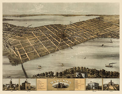 Antique Map Of Madison Wisconsin By A. Ruger - 1867 Poster by Blue Monocle