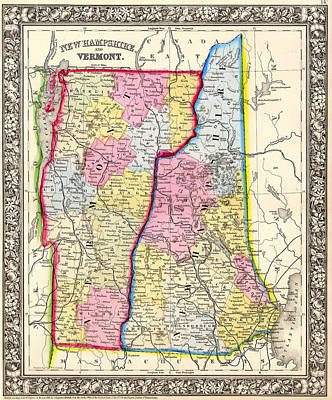 Antique Map Of New Hampshire And Vermont 1862 Poster by Mountain Dreams