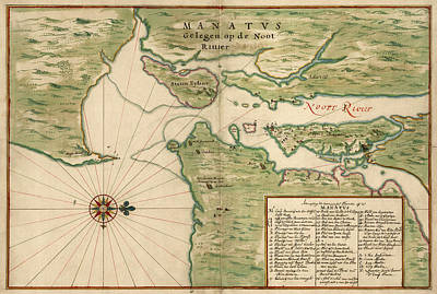 Antique Map Of New York City By Joan Vinckeboons - 1639 Poster by Blue Monocle