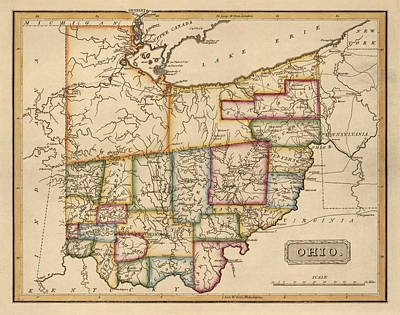 Antique Map Of Ohio By Fielding Lucas - Circa 1817 Poster by Blue Monocle