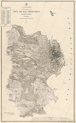 Antique Map Of San Francisco By A. F. Rodgers - 1857 Poster by Blue Monocle