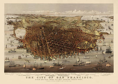 Antique Map Of San Francisco By Currier And Ives - Circa 1878 Poster by Blue Monocle