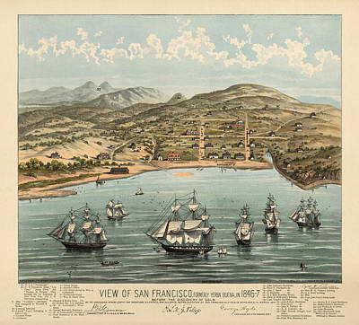 Antique Map Of San Francisco In 1846-7 Poster by Blue Monocle