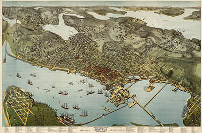 Antique Map Of Seattle Washington By Augustus Koch - 1891 Poster by Blue Monocle