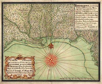 Antique Map Of The Gulf Coast By Alexandre De Batz - 1747 Poster by Blue Monocle