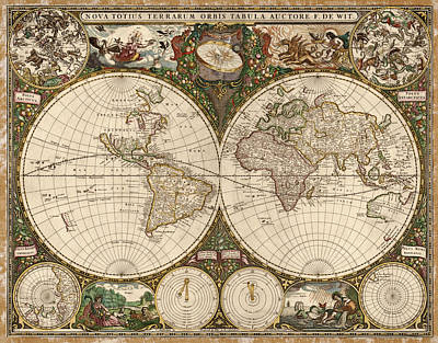 Antique Map Of The World By Frederik De Wit - 1660 Poster by Blue Monocle