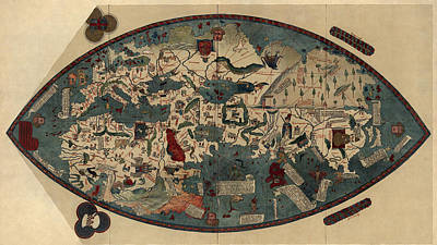 Antique Map Of The World By Paolo Del Pozzo Toscanelli - Circa 1450 Poster by Blue Monocle