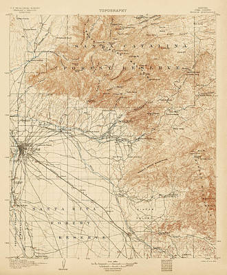 Antique Map Of Tucson Arizona - Usgs Topographic Map - 1905 Poster by Blue Monocle