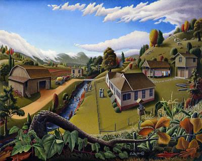 Appalachia Summer Farming Landscape - Appalachian Country Farm Life Scene - Rural Americana Poster by Walt Curlee