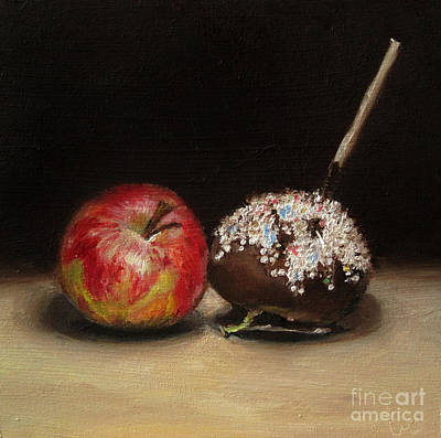 Lebensmittel Poster featuring the painting Apple And Chocolate by Ulrike Miesen-Schuermann