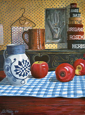 Apples And Stoneware Poster by Dave Hasler