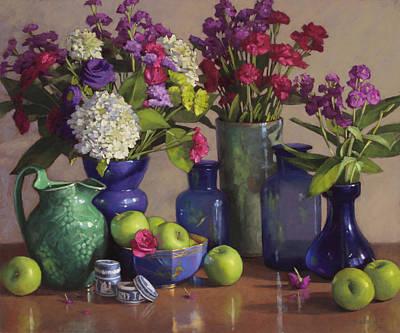 Apples In A Wedgewood Bowl Poster by Sarah Blumenschein