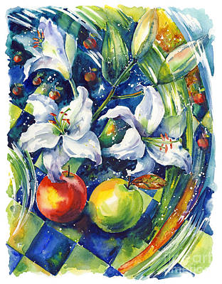 Apples With Lilies Poster by Ira Ivanova