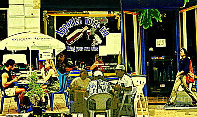 Apportez Votre Vin Bring Your Own Wine Summer At The Resto Terrace Montreal Cafe Street Scene Poster by Carole Spandau