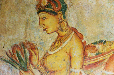 Apsara With Lotus. Sigiriya Cave Fresco Poster by Jenny Rainbow